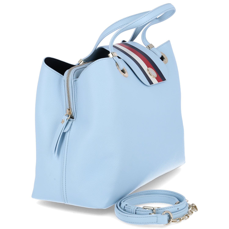 Tommy Hilfiger Damen Handtasche My Tommy Satchel Satchel Satchel hellblau Kunstleder 4965fb